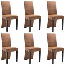 Jídelní židle 6 ks umělá kůže Dekorhome Hnědá