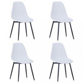 Jídelní židle 4 ks plast / kov Dekorhome Bílá