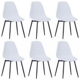Jídelní židle 6 ks plast / kov Dekorhome Bílá