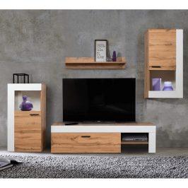 Obývací stěna PLATINUM dub wotan / bílá Tempo Kondela