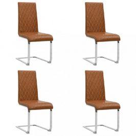 Konzolové jídelní židle 4 ks umělá kůže / kov Dekorhome Světle hnědá