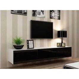 Moderní televizní stolek Igore 180, bílá/černý lesk