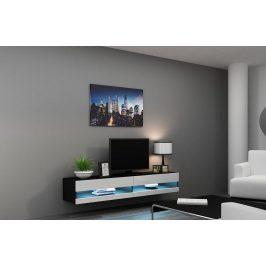 Moderní TV stolek Igore new, černá/bílý lesk