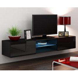 Moderní televizní stolek Igore 180 GLASS, černá/černý lesk
