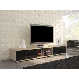 Moderní TV stolek Stark, sonoma/černý lesk