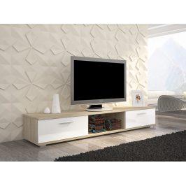 Moderní TV stolek Stark, sonoma/bílý lesk