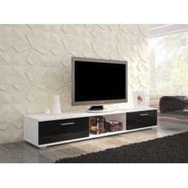 Moderní TV stolek Stark, bílá/černý lesk