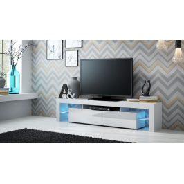 Moderní TV stolek Space, bílá/bílý lesk