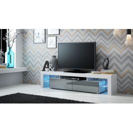 Moderní TV stolek Space, bílá/šedý lesk