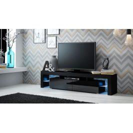 Moderní TV stolek Space, černá/černý lesk