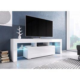 Moderní TV stolek Targa 138cm, bílá/bílý lesk