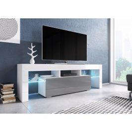 Moderní TV stolek Targa 138cm, bílá/šedý lesk
