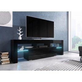 Moderní TV stolek Targa 138cm, černá/černý lesk