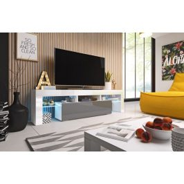 Moderní TV stolek Tropez 158cm, bílá/šedý lesk