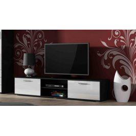 Moderní televizní stolek Zita 180, černá/bílý lesk