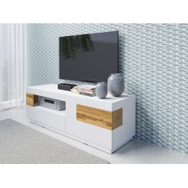 TV stolek Sotano 41, bílá/bílý lesk/wotan