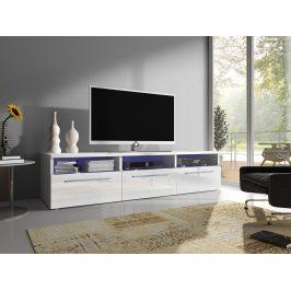Moderní TV stolek Rabia 150, bílá/bílý lesk + LED