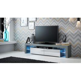 Moderní TV stolek Space, šedá/bílý lesk