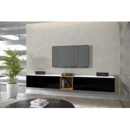 TV stolek Premio P 234cm, bílá/černý lesk