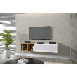TV stolek Premio R 168cm, bílá/bílý lesk