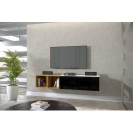 TV stolek Premio R 168cm, bílá/černý lesk