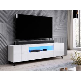 Kvalitní TV stolek Rebon, MDF bílý lesk + LED podsvícení