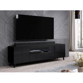 Kvalitní TV stolek Rebon, MDF černý lesk