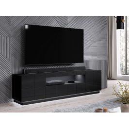 Kvalitní TV stolek Rebon, MDF černý  lesk + LED podsvícení