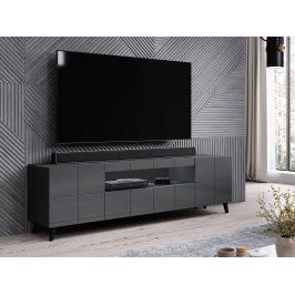 Kvalitní TV stolek Rebon, MDF šedý lesk