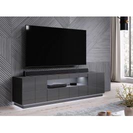 Kvalitní TV stolek Rebon, MDF šedý  lesk + LED podsvícení