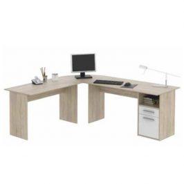 Tempo Kondela Rohový PC stůl MAURUS MA11 - dub sonoma/bílá