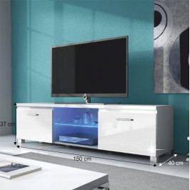Tempo Kondela RTV stolek LUGO 2 - bílá / bílý extra vysoký lesk HG