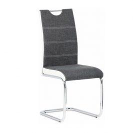 Tempo Kondela Židle IZMA - bílá ekokůže / šedá látka