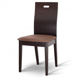 Tempo Kondela Dřevéná židle ABRIL - wenge/látka tmavě hnědá