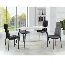 Tempo Kondela Jídelní stůl ADMER - bílé sklo / černý kov