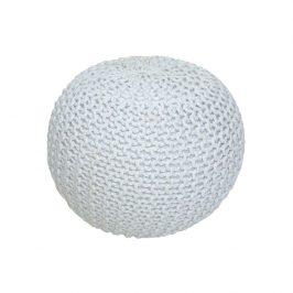 Tempo Kondela Pletený taburet GOBI TYP 2 - smetanová (bílý melír) bavlna