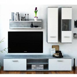 Tempo Kondela Obývací stěna WAW - beton / bílá