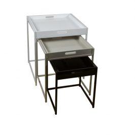 Tempo Kondela Set 3 příručních stolíku BARTON - bílá / šedá / černá