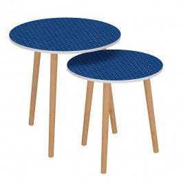 Tempo Kondela Set dvou příručních stolků BRIX - modrá / bílá