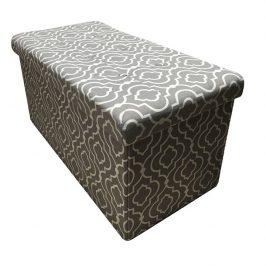 Tempo Kondela Skládací taburet FARGO - tkanina v šedém vzoru Taburety do obýváku