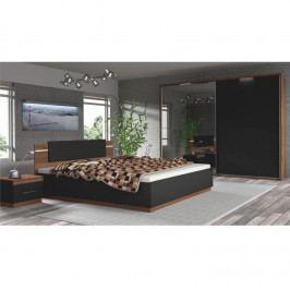 Tempo Kondela Ložnicový komplet Degas (skříň + postel + 2x noční stolek) - ořech / černá