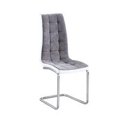Tempo Kondela Jídelní židle SALOMA - světlešedá látka / ekokůže bílá / chrom