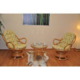 Axin Trading Ratanová souprava Swivel + stolek polstry Oliver
