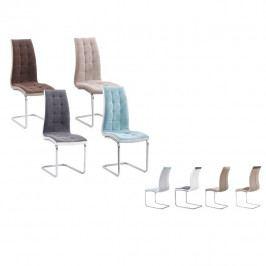 Tempo Kondela Jídelní židle, béžová látka / ekokůže béžová / chrom, SALOMA NEW