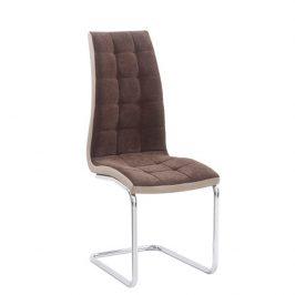 Tempo Kondela Jídelní židle SALOMA NEW, hnědá látka / ekokůže béžová / chrom