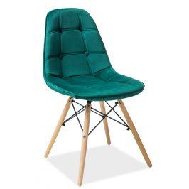 Casarredo Jídelní židle AXEL III zelená aksamit/buk