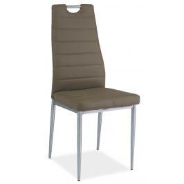 Casarredo Jídelní čalouněná židle H-260 tmavě béžová/chrom