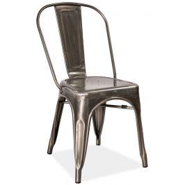 Casarredo Jídelní kovová židle LOFT ocel kartáčovaná