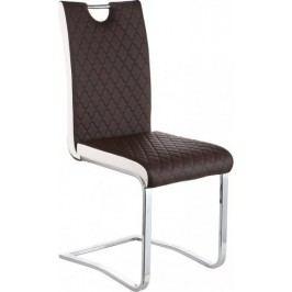 Tempo Kondela Jídelní židle IMANE - Chrom + hnědá ekokůže
