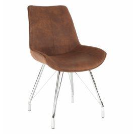 Tempo Kondela Židle MADORA - hnědá / chrom